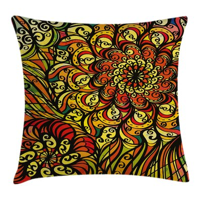 Colorful Abstract Curly Floral Pillow Cover Size: 18