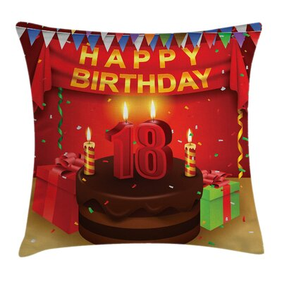 18th Happy Birthday Cake Square Pillow Cover Size: 16 x 16