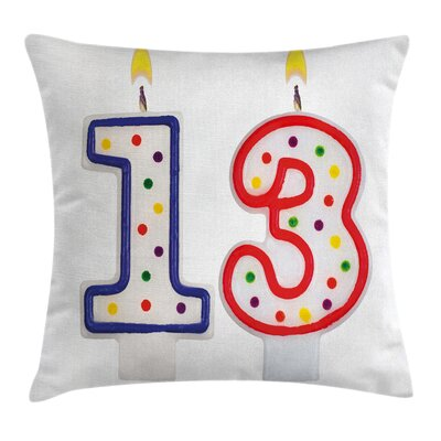 Birthday Cute Candles Thirteen Square Pillow Cover Size: 16