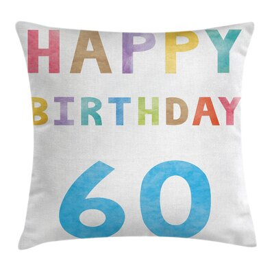 Vintage Colorful Birthday Party Square Pillow Cover Size: 16 x 16