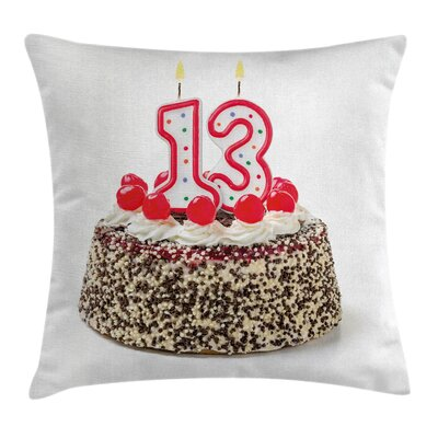 Birthday Cake Numeral Candles Square Pillow Cover Size: 16 x 16