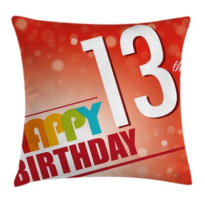 Retro Age 13th Birthday Party Square Pillow Cover Size: 18 x 18