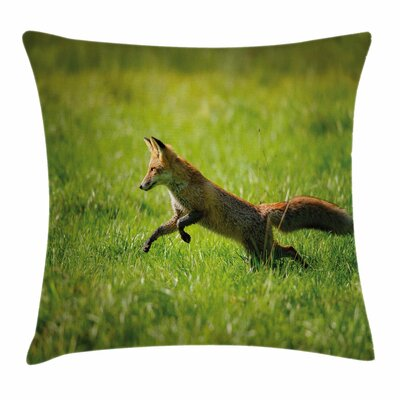 Fox Jumping Animal Fresh Grass Square Pillow Cover Size: 20 x 20