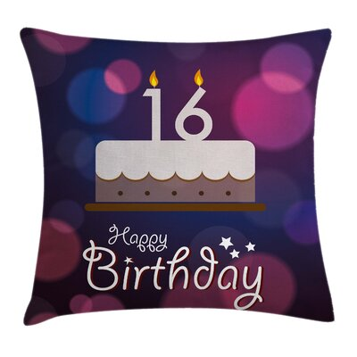 Birthday Cake Candle Best Wish Square Pillow Cover Size: 16 x 16