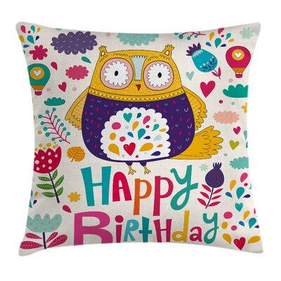 Owl Funny Greeting Doodle Art Square Pillow Cover Size: 20 x 20