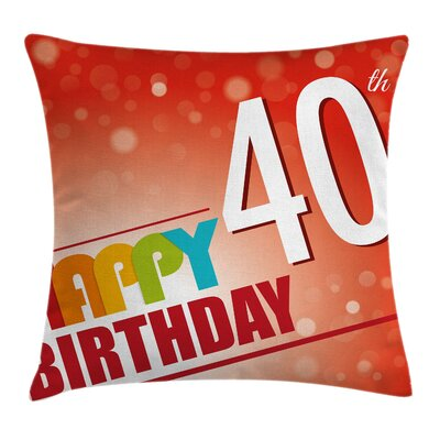 Birthday Party Invitation Pillow Cover Size: 16 x 16