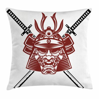 Kabuki Mask Samurai Face Swords Square Pillow Cover Size: 18