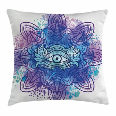 Eye Third Eye Mandala Chakra Square Pillow Cover Size: 18 x 18