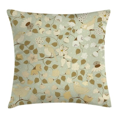 Floral Vintage Retro Swirls Pillow Cover Size: 24 x 24