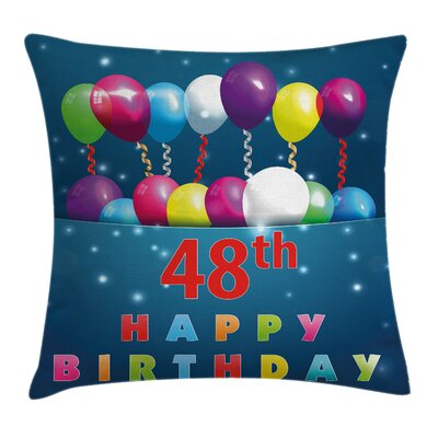 Party Greetings Happy Event Square Pillow Cover Size: 16 x 16