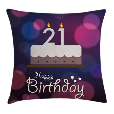 Happy Birthday Quote Pillow Cover Size: 20 x 20