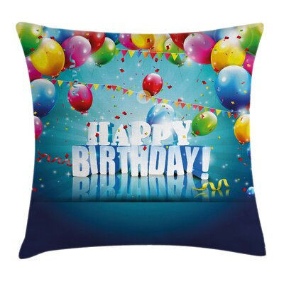 Birthday Surprise Party 3D Text Square Pillow Cover Size: 18 x 18