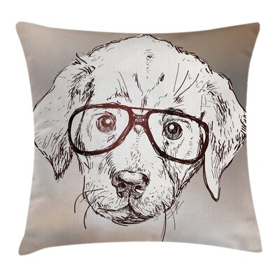 Dog Cute Hipster Puppy Glasses Pillow Cover Size: 16 x 16