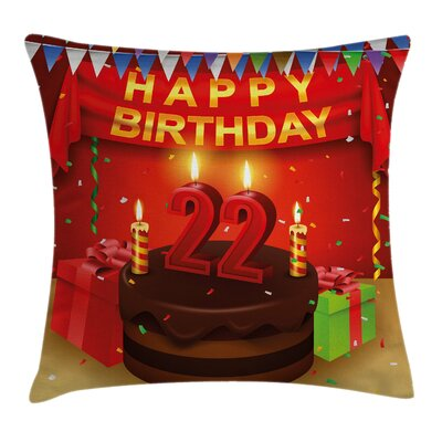 Cake Candles Cheerful Square Pillow Cover Size: 20 x 20