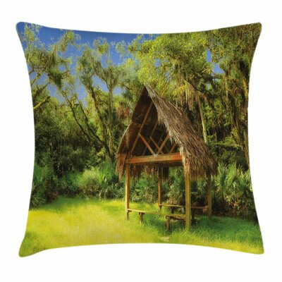 Tiki Bar Decor Tropic Hut Woods Square Pillow Cover Size: 16 x 16