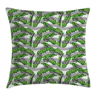 Boho Banana Leaves Paintbrush Pillow Cover Size: 16 x 16
