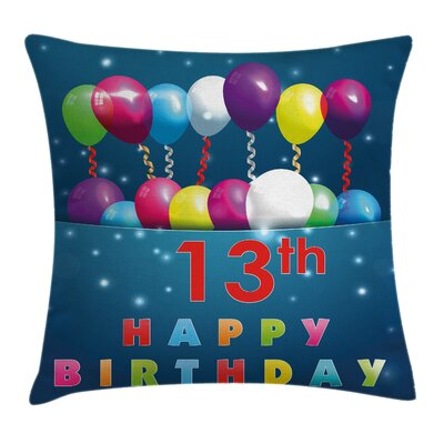 Birthday Joyful Surprise Event Square Pillow Cover Size: 16 x 16