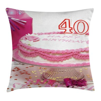 Party Surprise Birthday Cake Pillow Cover Size: 18 x 18