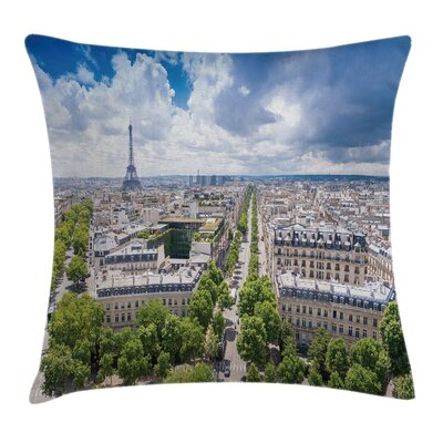 Eiffel Tower Aerial View Paris Pillow Cover Size: 24 x 24