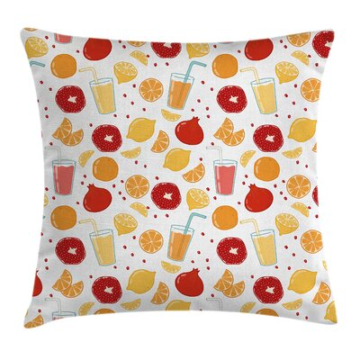 Fruits Juice Lemon Artsy Square Pillow Cover Size: 16 x 16