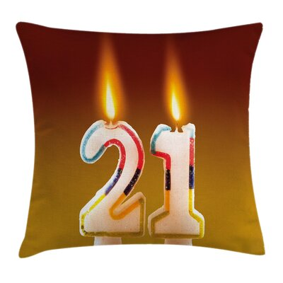 Rainbow Candle Pillow Cover Size: 18 x 18