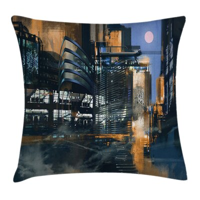 Futuristic Cyberpunk Cityscape Pillow Cover Size: 24 x 24