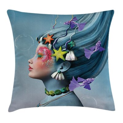 Mermaid Woman Oceanic Hairstyle Pillow Cover Size: 16 x 16