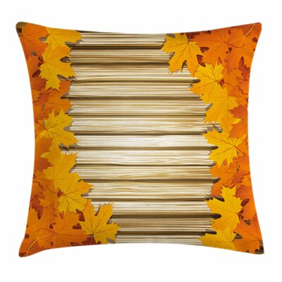 Fall Decor Fallen Leaves Rustic Square Pillow Cover Size: 18 x 18