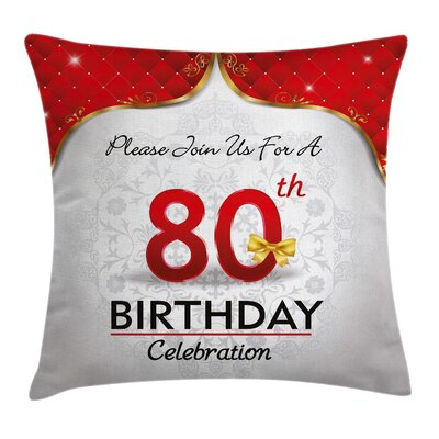 Abstract Birthday Party Invite Square Pillow Cover Size: 16 x 16