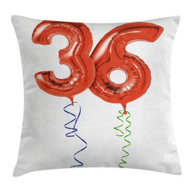 Birthday Party Balloons Square Pillow Cover Size: 18 x 18