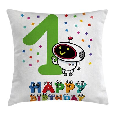 Party Happy Emoji Face Birthday Square Pillow Cover Size: 20 x 20