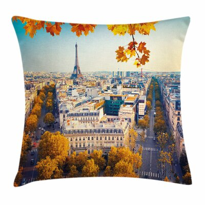 Fall Decor Aerial Eiffel Tower Square Pillow Cover Size: 24 x 24