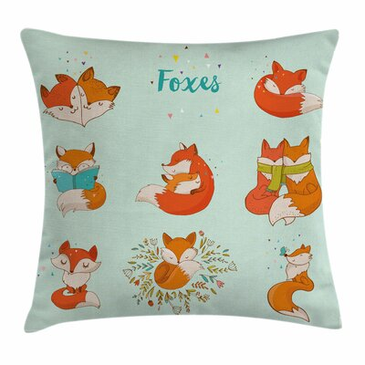 Fox Fun Characters Kids Comic Square Pillow Cover Size: 18 x 18