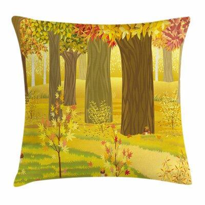 Fall Decor Fantasy Dream Forest Square Pillow Cover Size: 24