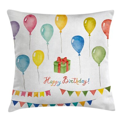 Festival Birthday Square Pillow Cover Size: 18 x 18