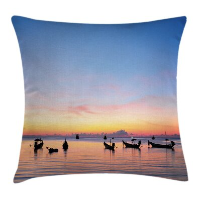 Fishing Sunset on Sea Ships Pillow Cover Size: 18 x 18