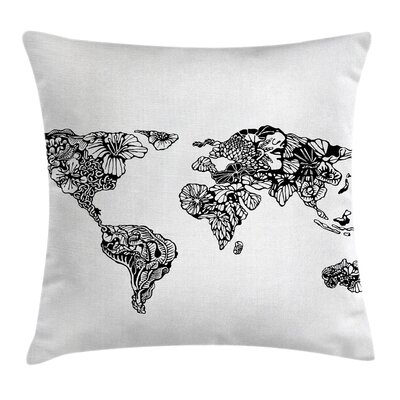Sketchy World Map Charm Purity Pillow Cover Size: 16 x 16