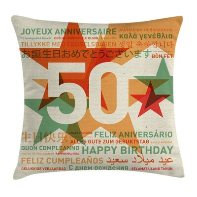 Retro Languages Birthday Theme Pillow Cover Size: 24 x 24