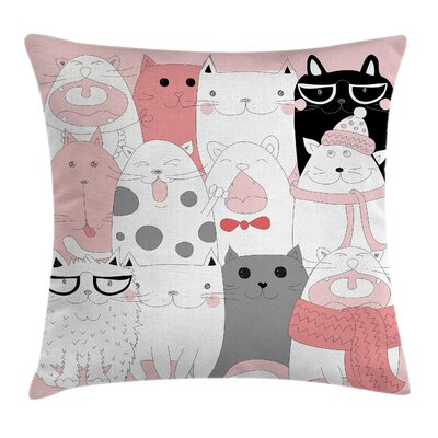 Cat Funny Kittens Humor Doodle Square Pillow Cover Size: 24 x 24