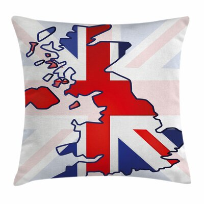 Union Jack Country Map Flag Square Pillow Cover Size: 18 x 18