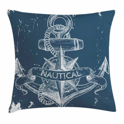 Nautical Knot Anchor Compass Pillow Cover Size: 18 x 18