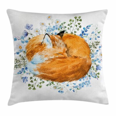 Fox Sleeping Fox Watercolors Square Pillow Cover Size: 18 x 18