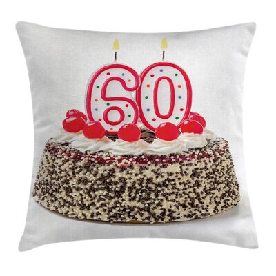 Colorful Party Cake with Candle Square Pillow Cover Size: 24 x 24