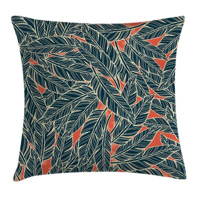 Feather Decor Artistic Modern Square Pillow Cover Size: 16 x 16
