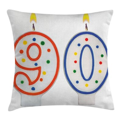 Party Candles Number Ninety Square Pillow Cover Size: 16 x 16