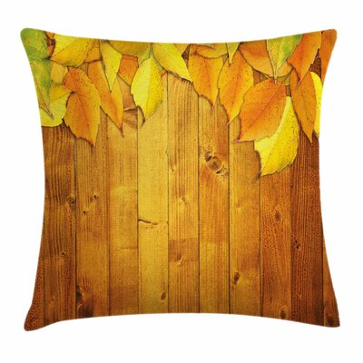 Fall Decor Leaves Wood Planks Square Pillow Cover Size: 16 x 16
