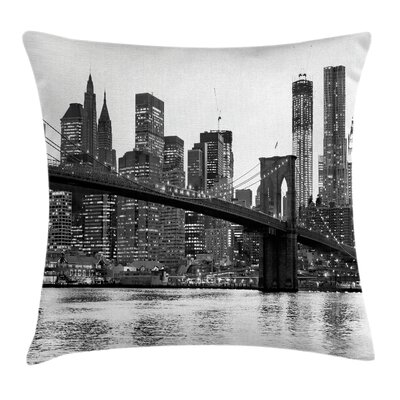 Urban Brooklyn Bridge Sunset Pillow Cover Size: 18 x 18
