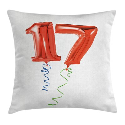 Birthday 17th PartyBalloons Square Pillow Cover Size: 18 x 18