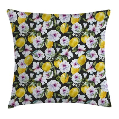 Tropical Hibiscus Petals Lemons Pillow Cover Size: 18 x 18