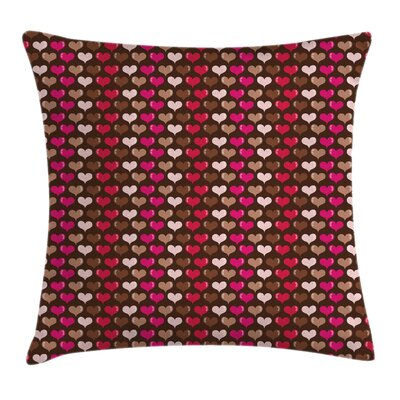 Valentine Vibrant Heart Romance Pillow Cover Size: 16